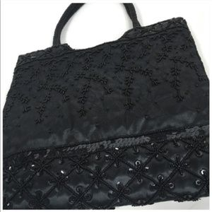 Bags - Black Beaded Double Handle Evening Bag